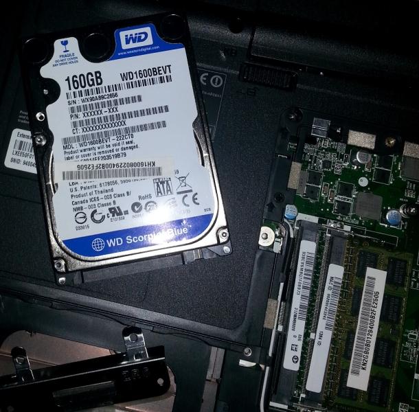 Esempio di un portatile con hard disk classico e una sola ram in single channel, Informatica