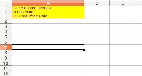 Come andare accapo su Libreoffice Calc, inserire una nuova riga in una cella, Informatica